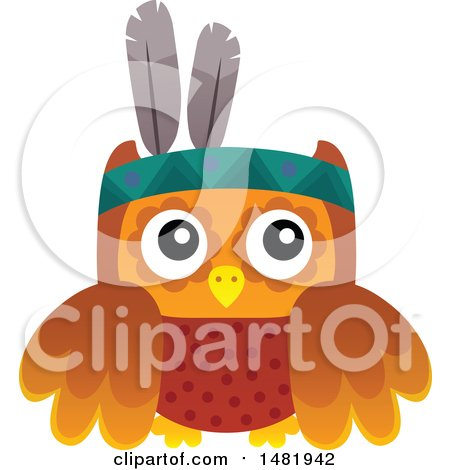 Clipart of a Thanksgiving Native American Owl - Royalty Free Vector Illustration by visekart
