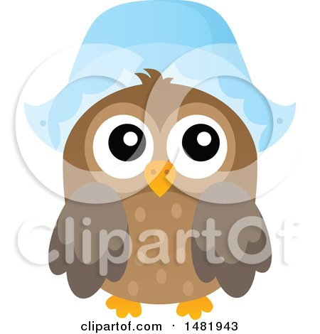 Clipart of a Thanksgiving Owl Wearing a Pilgrim Bonnet - Royalty Free Vector Illustration by visekart