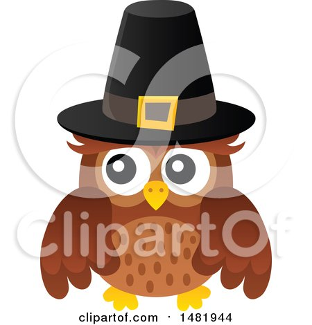 Clipart of a Thanksgiving Owl Wearing a Pilgrim Hat - Royalty Free Vector Illustration by visekart