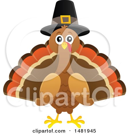 Clipart of a Thanksgiving Pilgrim Turkey Bird - Royalty Free Vector Illustration by visekart