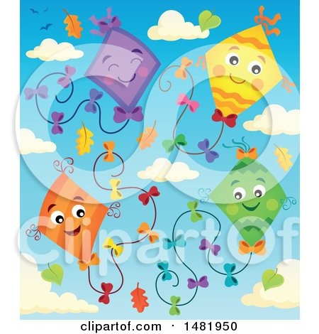 Clipart of a Group of Colorful Kites and Clouds with Autumn Leaves - Royalty Free Vector Illustration by visekart