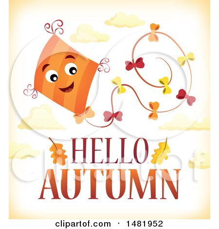 Clipart of a Happy Kite Flying over Hello Autumn Text - Royalty Free Vector Illustration by visekart