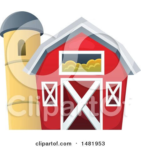 Clipart of a Red Barn and Silo - Royalty Free Vector Illustration by visekart