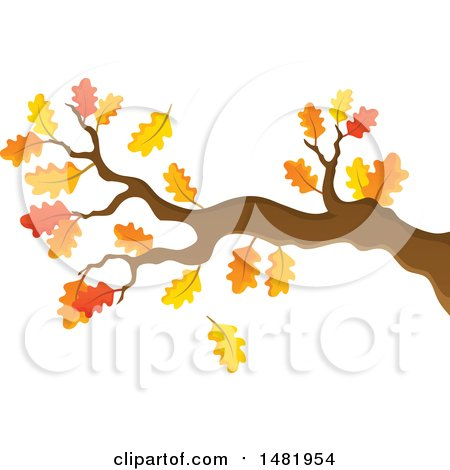 Clipart of a Tree Branch with Autumn Leaves - Royalty Free Vector Illustration by visekart