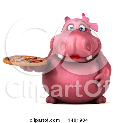 Clipart of a 3d Pink Henrietta Hippo Character Holding a Pizza, on a White Background - Royalty Free Illustration by Julos