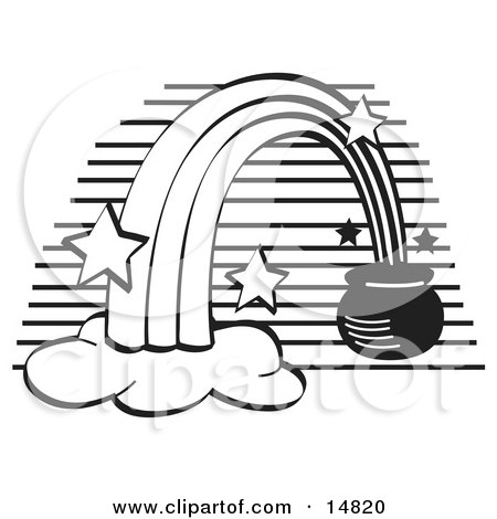 Pot of Gold at the End of a Rainbow, Black and White Clipart Illustration by Andy Nortnik