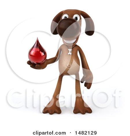 Clipart of a 3d Brown Chocolate Lab Dog, on a White Background - Royalty Free Illustration by Julos