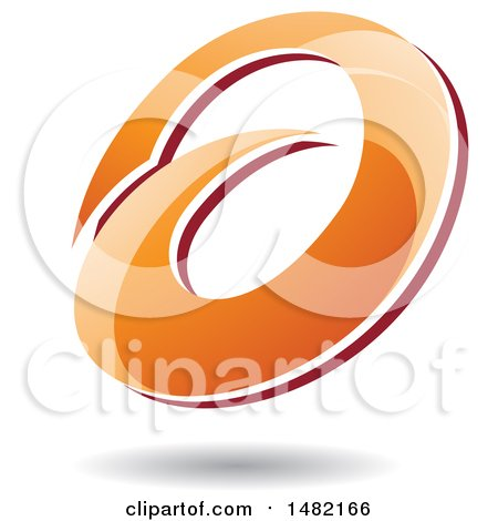 Clipart of an Abstract Orange Oval Letter a Design with a Shadow - Royalty Free Vector Illustration by cidepix