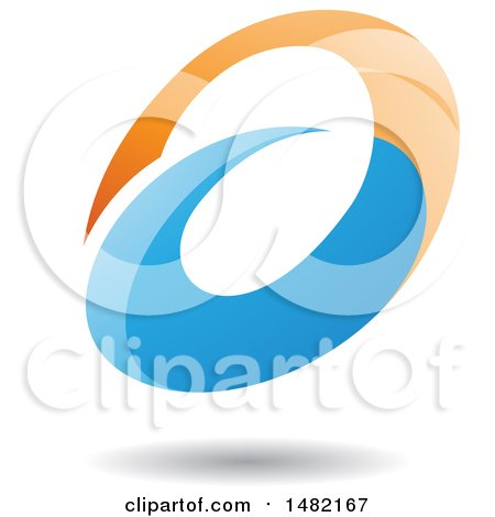 Clipart of an Abstract Oval Letter a Design with a Shadow - Royalty Free Vector Illustration by cidepix
