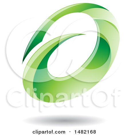 Clipart of an Abstract Green Oval Letter a Design with a Shadow - Royalty Free Vector Illustration by cidepix