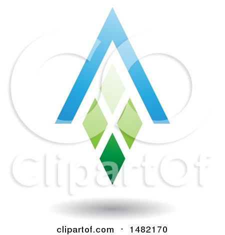 Clipart of a Green and Blue Abstract Letter a Diamond Window and House Roof - Royalty Free Vector Illustration by cidepix