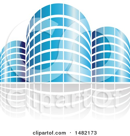 Clipart of Shiny Blue City or Apartment Buildings and Reflections - Royalty Free Vector Illustration by cidepix