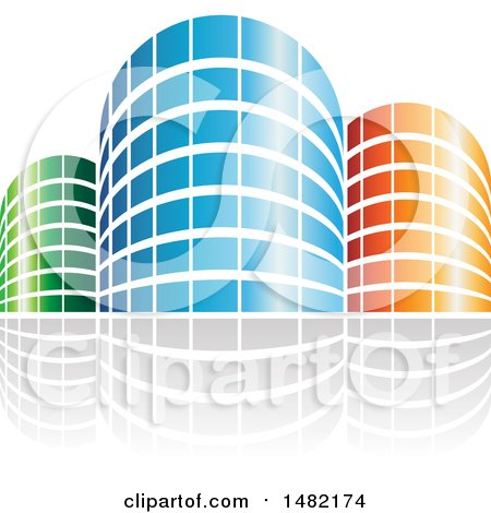 Clipart of Shiny Blue Orange and Green City or Apartment Buildings and Reflections - Royalty Free Vector Illustration by cidepix