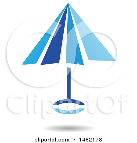 Clipart of a Floating Blue Umbrella and Shadow - Royalty Free Vector Illustration by cidepix