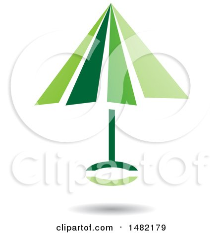 Clipart of a Floating Green Umbrella and Shadow - Royalty Free Vector Illustration by cidepix