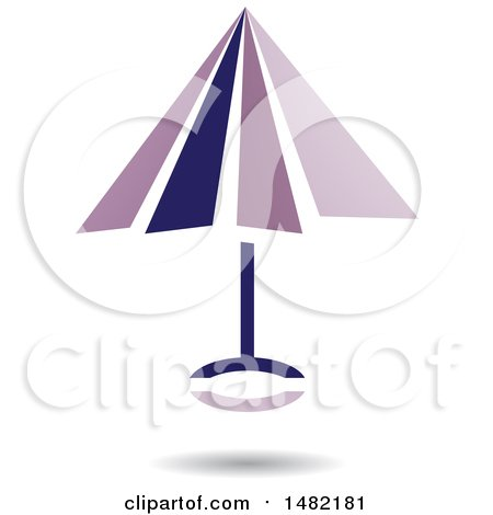 Clipart of a Floating Purple Umbrella and Shadow - Royalty Free Vector Illustration by cidepix