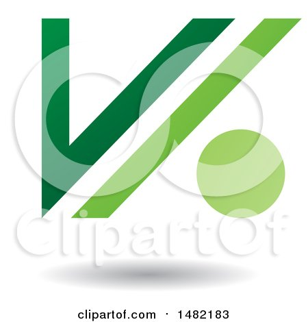 Clipart of a Floating Green Abstract Letter V and Dot and Shadow - Royalty Free Vector Illustration by cidepix