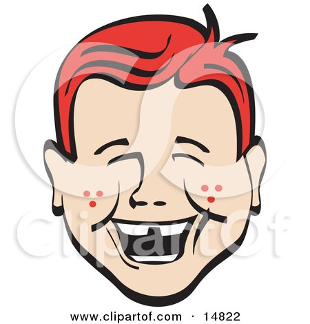 Happy Red Haired Freckled Boy With Missing Front Teeth, Laughing Retro Clipart Illustration by Andy Nortnik