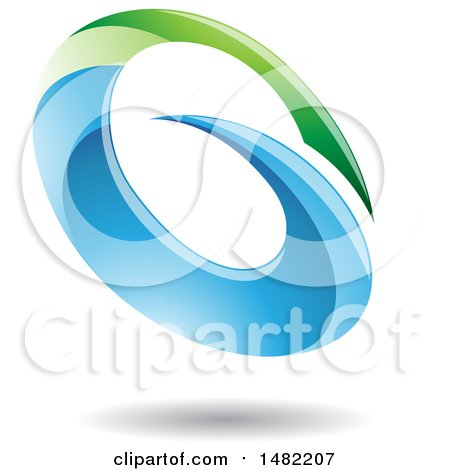 Clipart of an Abstract Oval Letter G Design with a Shadow - Royalty Free Vector Illustration by cidepix