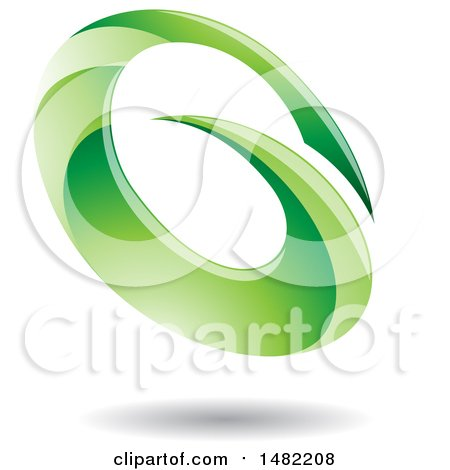 Clipart of an Abstract Green Oval Letter G Design with a Shadow - Royalty Free Vector Illustration by cidepix