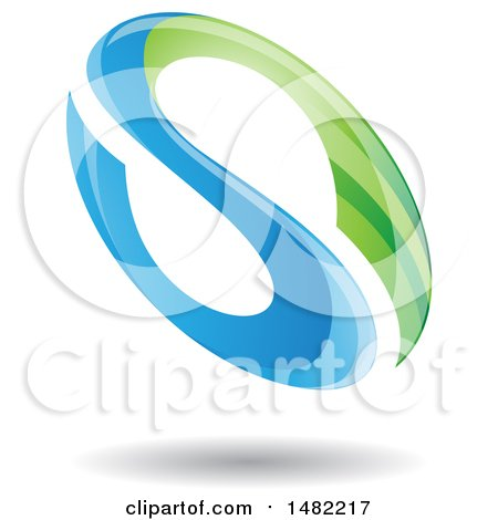 Clipart of a Floating Green and Blue Abstract Glossy Oval Letter S Design and Shadow - Royalty Free Vector Illustration by cidepix