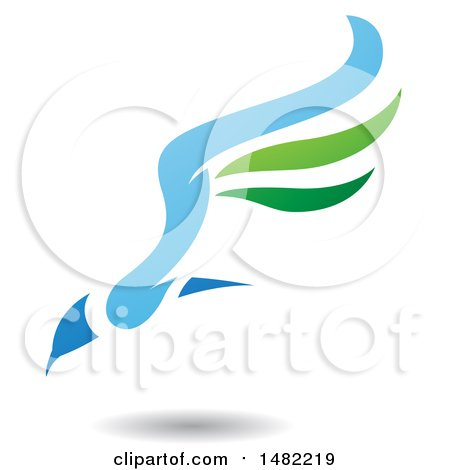 Clipart of a Green and Blue Flying Bird with Long Wings and a Shadow - Royalty Free Vector Illustration by cidepix