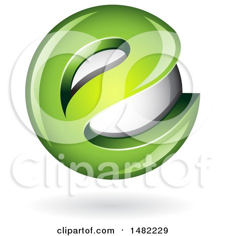 Clipart of a Green Letter E Around a Floating Sphere - Royalty Free Vector Illustration by cidepix