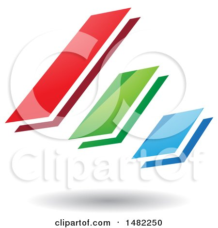 Clipart of Three Diagonal Floating Bars and a Shadow - Royalty Free Vector Illustration by cidepix