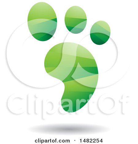 Clipart of a Shiny Green Foot Print Logo - Royalty Free Vector Illustration by cidepix