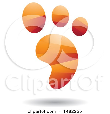 Clipart of a Shiny Orange Foot Print Logo - Royalty Free Vector Illustration by cidepix