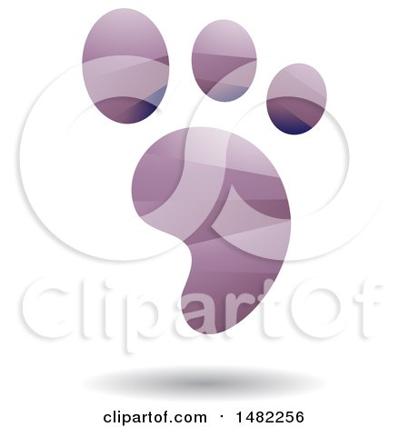 Clipart of a Shiny Purple Foot Print Logo - Royalty Free Vector Illustration by cidepix