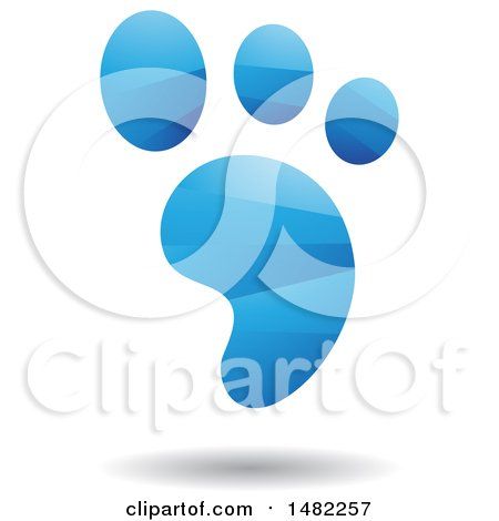 Clipart of a Shiny Blue Foot Print Logo - Royalty Free Vector Illustration by cidepix