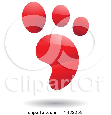 Clipart of a Shiny Red Foot Print Logo - Royalty Free Vector Illustration by cidepix