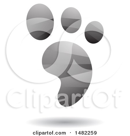 Clipart of a Shiny Gray Foot Print Logo - Royalty Free Vector Illustration by cidepix