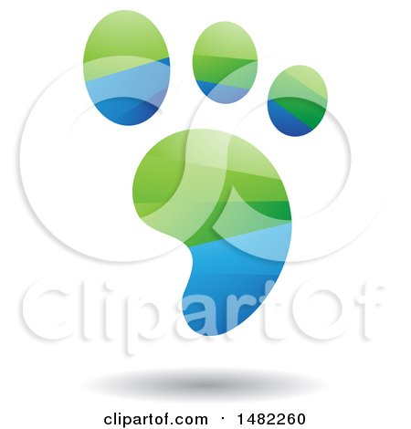 Clipart of a Shiny Green and Blue Foot Print Logo - Royalty Free Vector Illustration by cidepix