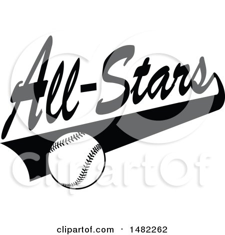 Clipart of a Baseball and Swoosh Under All Stars Text - Royalty Free Vector Illustration by Johnny Sajem