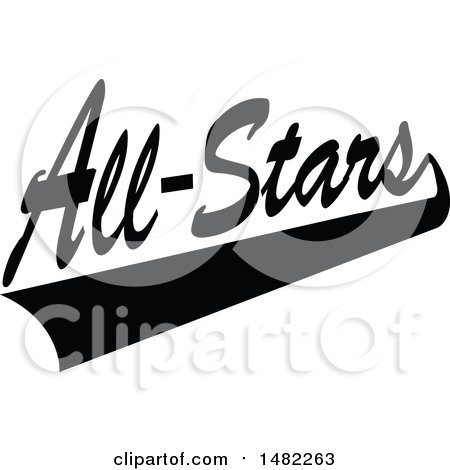 Black and White Swoosh Under All Stars Text Posters, Art Prints