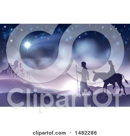 Silhouetted Scene of Mary and Joseph on Their Jouney Posters, Art Prints