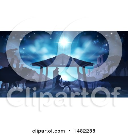 Clipart of a Nativity Scene with Animals, Wise Men, the City of Bethlehem and Star of David - Royalty Free Vector Illustration by AtStockIllustration