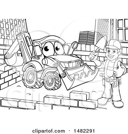 Clipart of a Black and White Happy Male Mason Holding a Thumb Up, Working near a Bulldozer Digger - Royalty Free Vector Illustration by AtStockIllustration