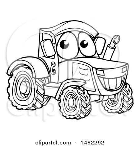 Clipart of a Black and White Happy Tractor Mascot - Royalty Free Vector Illustration by AtStockIllustration