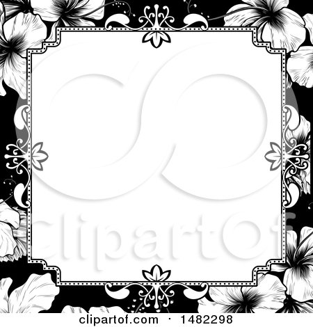 Clipart of a Black and White Border or Wedding Invitation with Hibiscus Flowers - Royalty Free Vector Illustration by AtStockIllustration