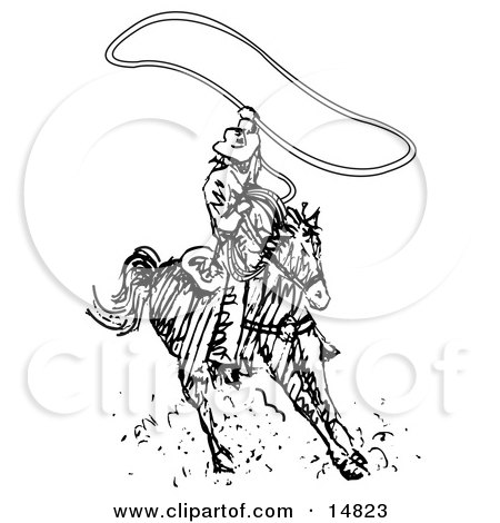 Roper Cowboy on a Horse, Using a Lasso to Catch a Cow or Horse Clipart Illustration by Andy Nortnik