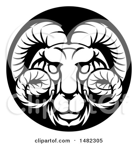 Clipart of a Zodiac Horoscope Astrology Aries Ram Circle Design in Black and White - Royalty Free Vector Illustration by AtStockIllustration