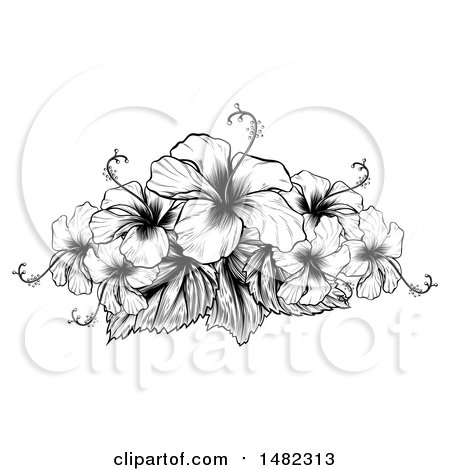 Clipart of a Black and White Engraved or Woodcut Hibiscus Flower Design - Royalty Free Vector Illustration by AtStockIllustration