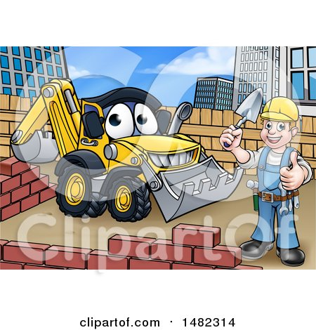 Happy Male Mason Holding a Thumb Up, Working near a Bulldozer Digger Posters, Art Prints