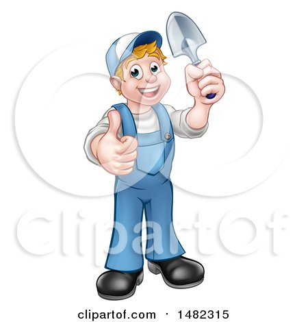 Cartoon Full Length Happy White Male Gardener in Blue, Holding a Garden Trowel and Giving a Thumb up Posters, Art Prints