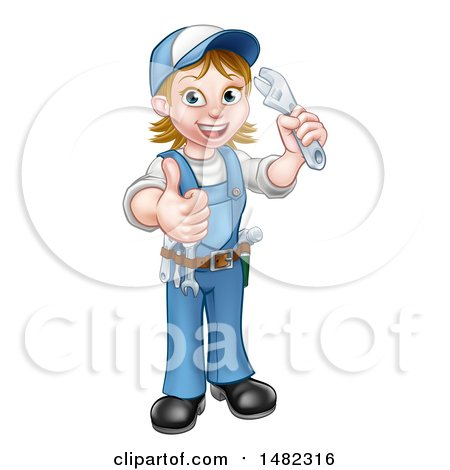 Cartoon Full Length Happy White Female Plumber Holding an Adjustable Wrench and Giving a Thumb up Posters, Art Prints