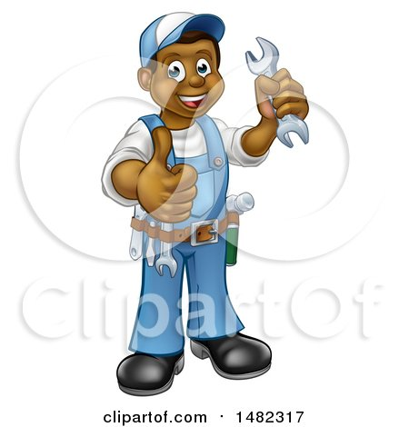 Clipart of a Cartoon Full Length Black Male Plumber Holding a Wrench and Giving a Thumb up - Royalty Free Vector Illustration by AtStockIllustration