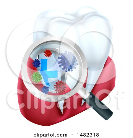 Clipart of a 3d Magnifying Glass Discovering Germs or Bacteria on a Tooth and Gums - Royalty Free Vector Illustration by AtStockIllustration